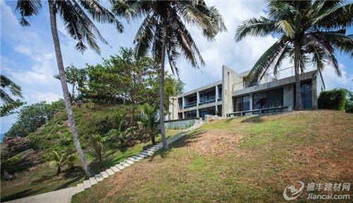 你仍然可以看到房子周围的椰子树.