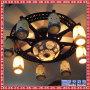 现代中式灯圆形实木陶瓷灯吸顶灯大气客厅灯卧室书房茶楼灯具