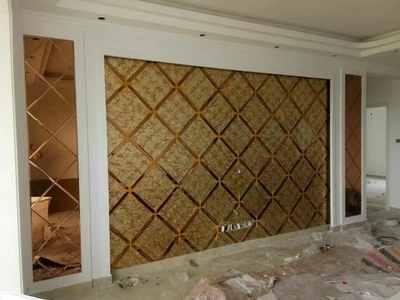 拼镜 艺术玻璃电视背景墙 菱形镜子 餐厅背景墙 超优银白镜